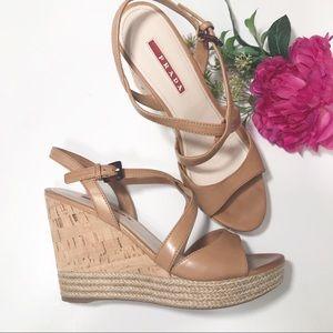 Prada Cork Wedge Strappy Brown Sandal